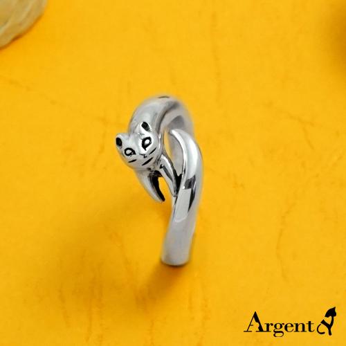 撒嬌貓動物造型雕刻純銀戒指|戒指推薦