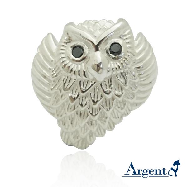 展翅貓頭鷹動物造型雕刻純銀戒指 戒指推薦