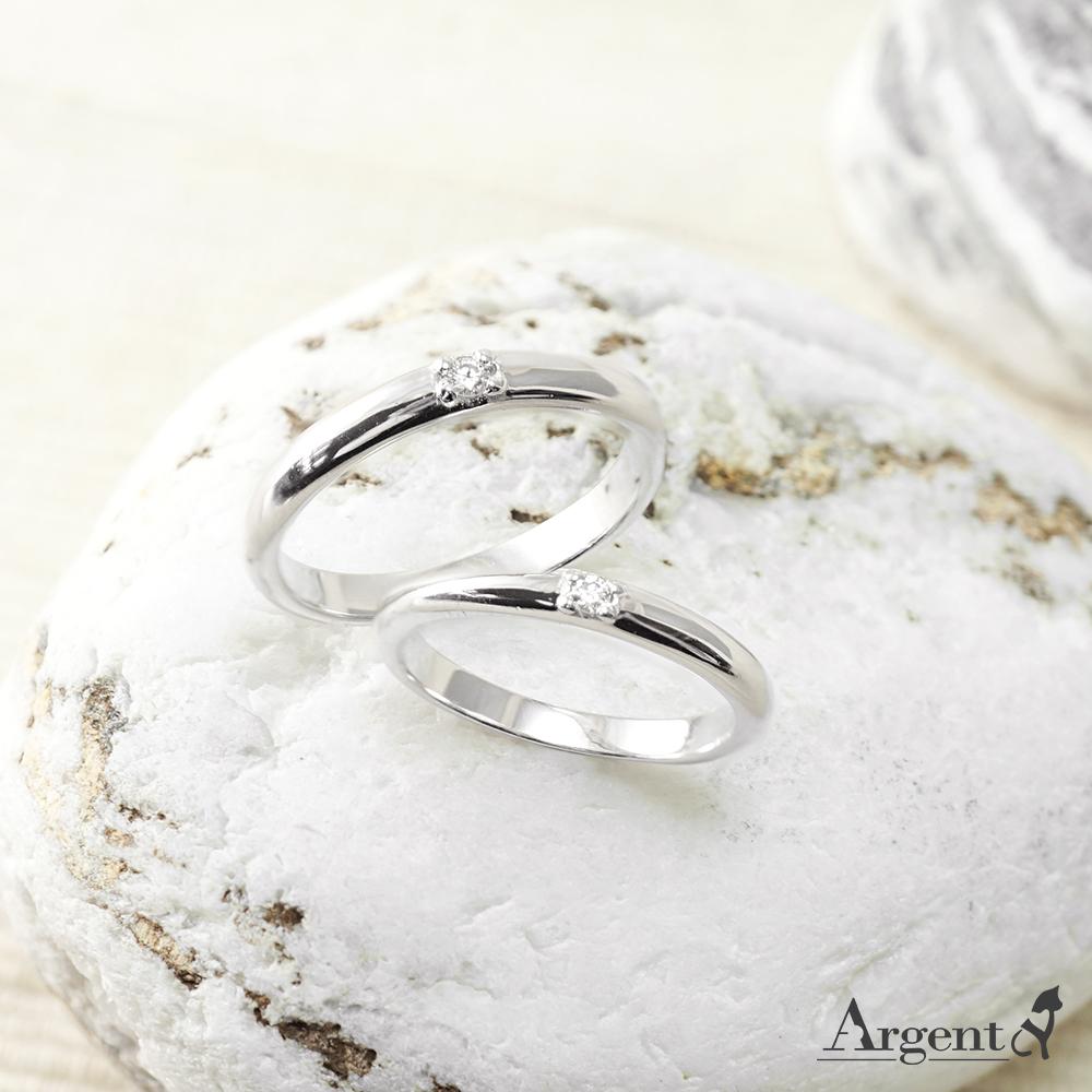 專情鑲鑽造型設計K金真鑽對戒指|戒指推薦(一對價)
