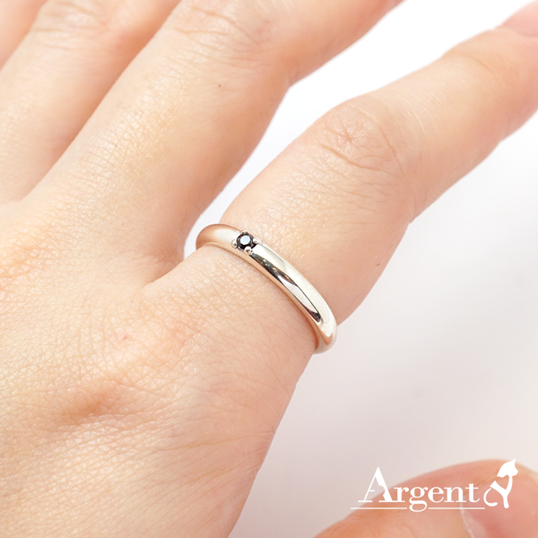 「專情」黑鑽素雅純銀戒指|戒指推薦