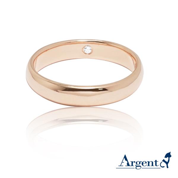 藏鑽(3mm)玫瑰金真鑽14k戒指推薦|k金戒指
