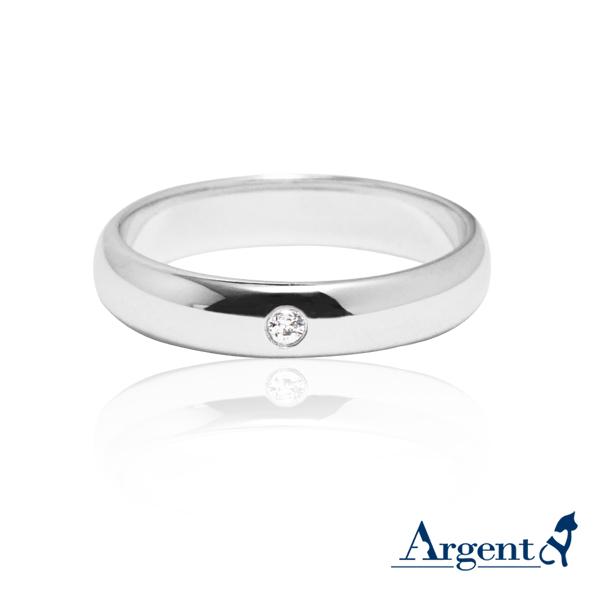 經典(4mm)白k金真鑽14k戒指推薦|k金戒指