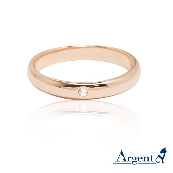 經典(3mm)真鑽8k玫瑰金戒指推薦|k金戒指
