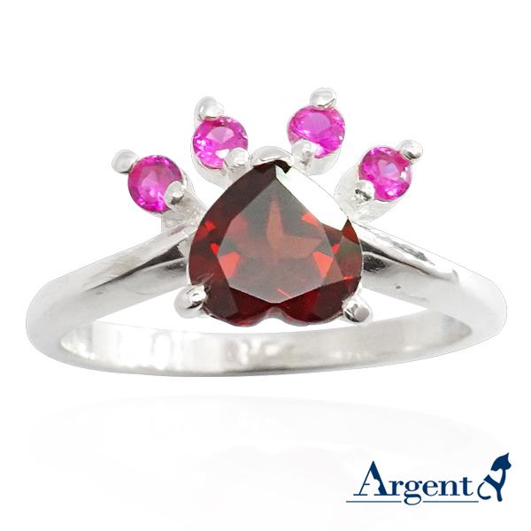 「彩鑽貓掌(天然石)」動物造型純銀戒指|戒指推薦
