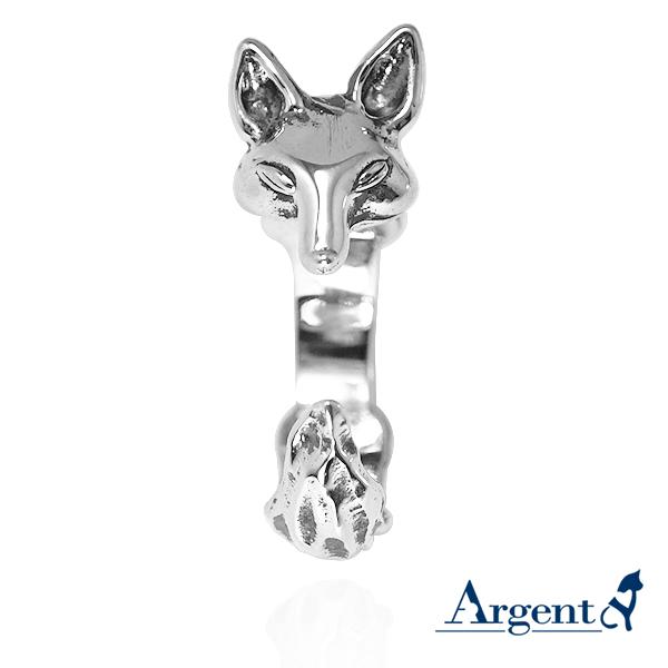 小狐狸動物造型雕刻純銀戒指-染黑款