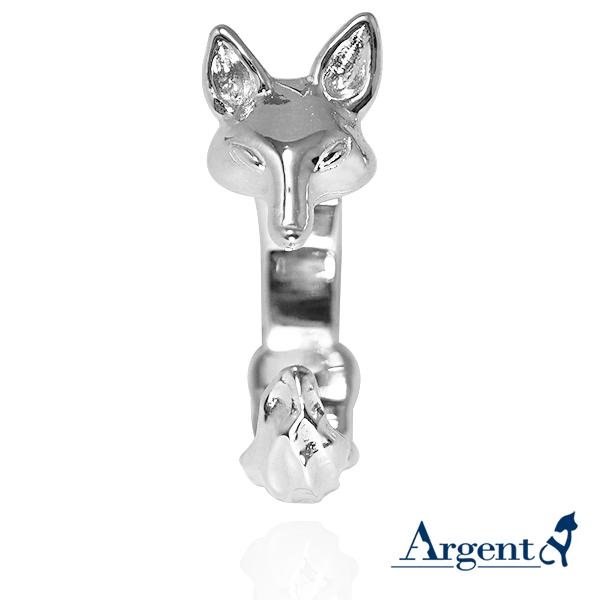 小狐狸動物造型雕刻純銀戒指-無染黑款