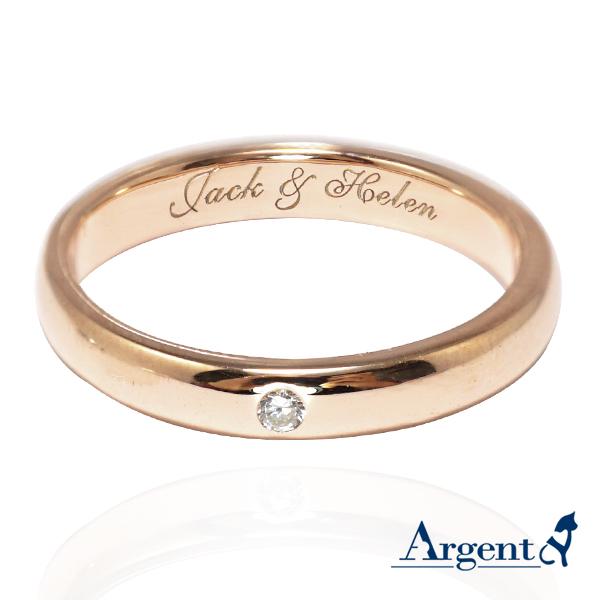 經典鑲鑽-3mm玫瑰金-純銀電鍍刻字對戒|情侶對戒推薦
