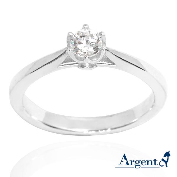 「花蕾」造型鑽鑲嵌純銀戒指|戒指推薦