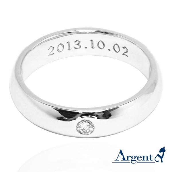 經典(4mm)白k金真鑽14K戒指推薦+內圍刻字|k金戒指