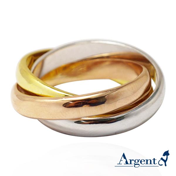 三環三色戒特寬版簡約設計造型純銀戒指|戒指推薦