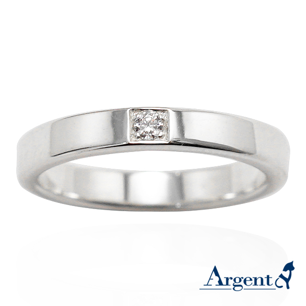 「永恆-寬(3.6mm)」鑲鑽造型設計純銀戒指|戒指推薦