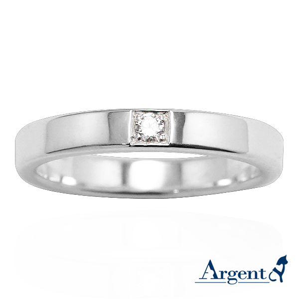 「永恆-細」鑲鑽造型設計純銀戒指|戒指推薦
