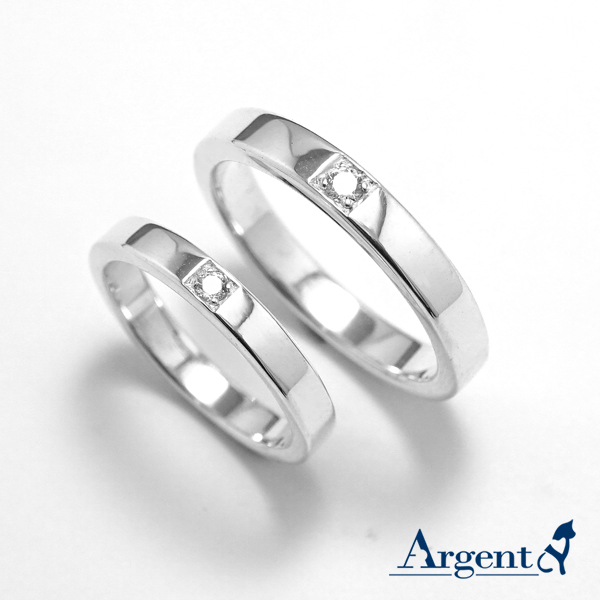 「永恆-寬(3.6mm)+細(3.2mm)」鑲鑽造型設計純銀戒指|戒指推薦
