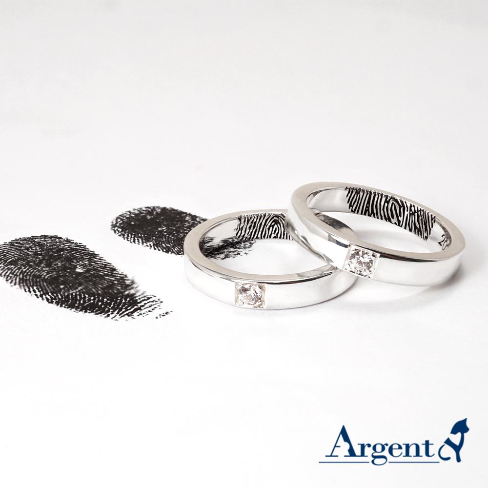 「永恆-刻指紋」鑲鑽造型設計純銀戒指|戒指推薦