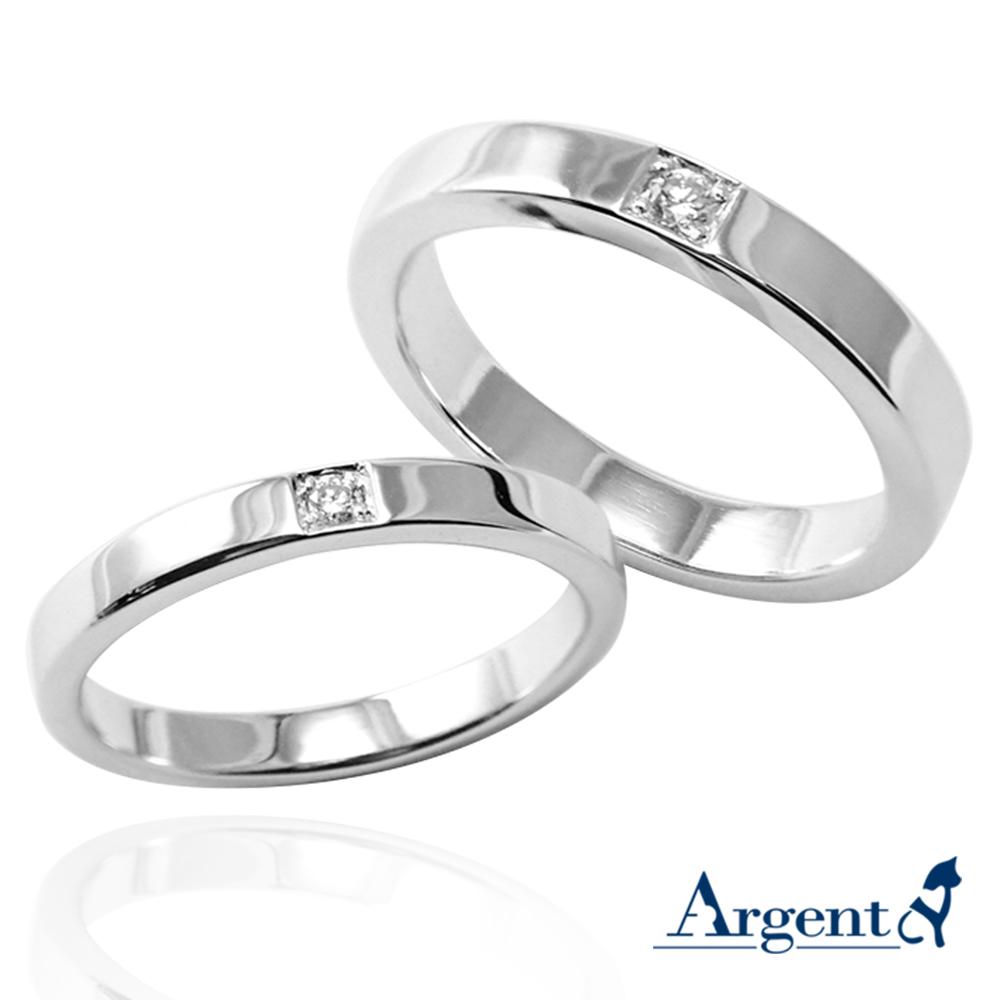 「永恆-寬(3.6mm)+細(3.2mm)」鑲鑽造型設計K金真鑽戒指|戒指推薦