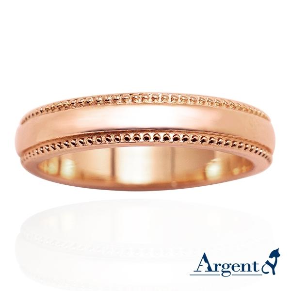 4mm浪漫滾珠14K金單色玫瑰金訂婚戒指推薦