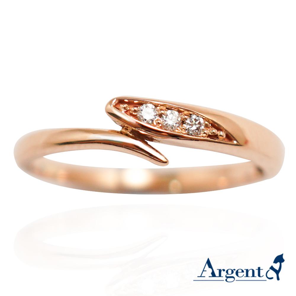 流情(玫瑰金真鑽) 造型14K金戒指|14K金戒指推荐