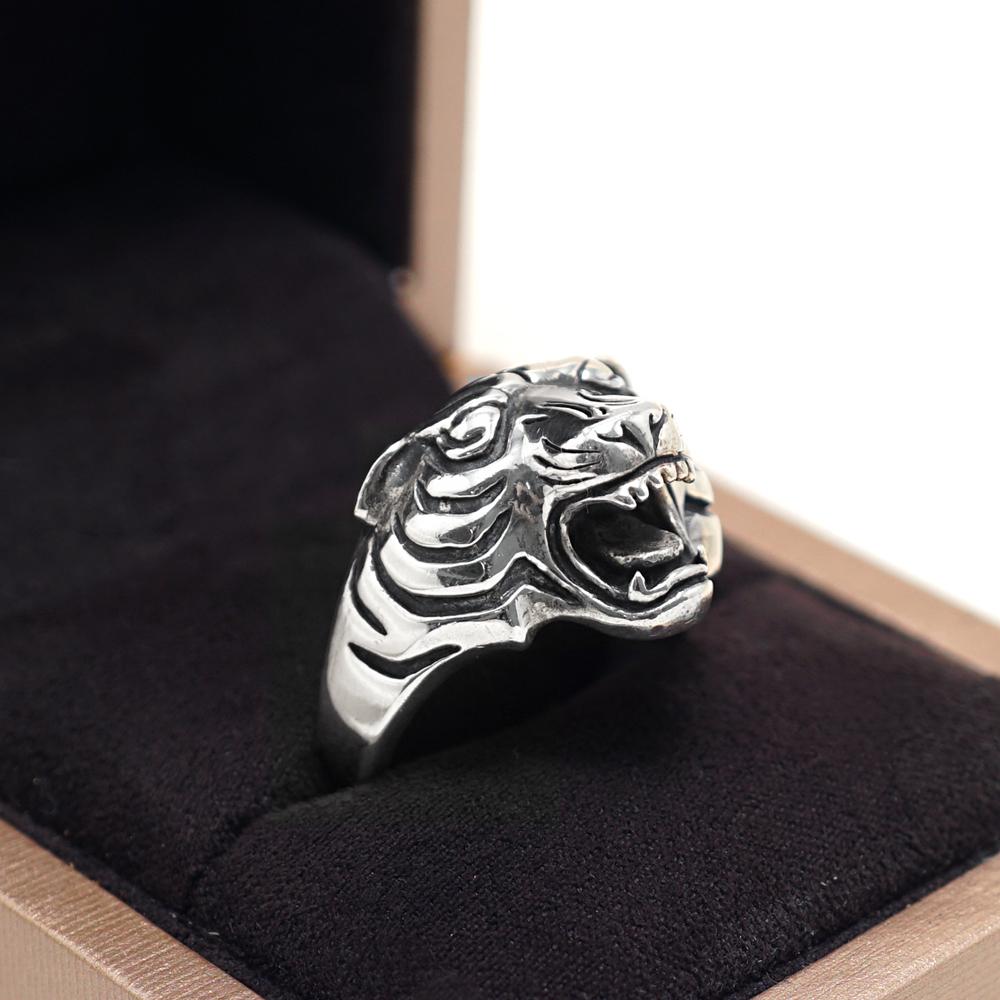虎動物造型雕刻純銀戒指|戒指推薦